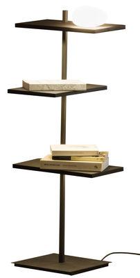Arredamento - Scaffali e librerie - Scaffale luminoso Suite - / H 94 cm / Diffusore in vetro & porta USB di Vibia - H 94 cm / Marrone scuro - metallo laccato, policarbonato