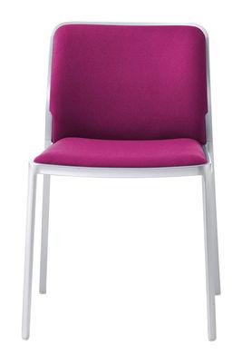 Arredamento - Sedie  - Sedia imbottita Audrey Soft - / seduta in tessuto - Struttura in alluminio opaco di Kartell - Struttura: alluminio opaco / Tessuto fucsia - alluminio verniciato, Tessuto