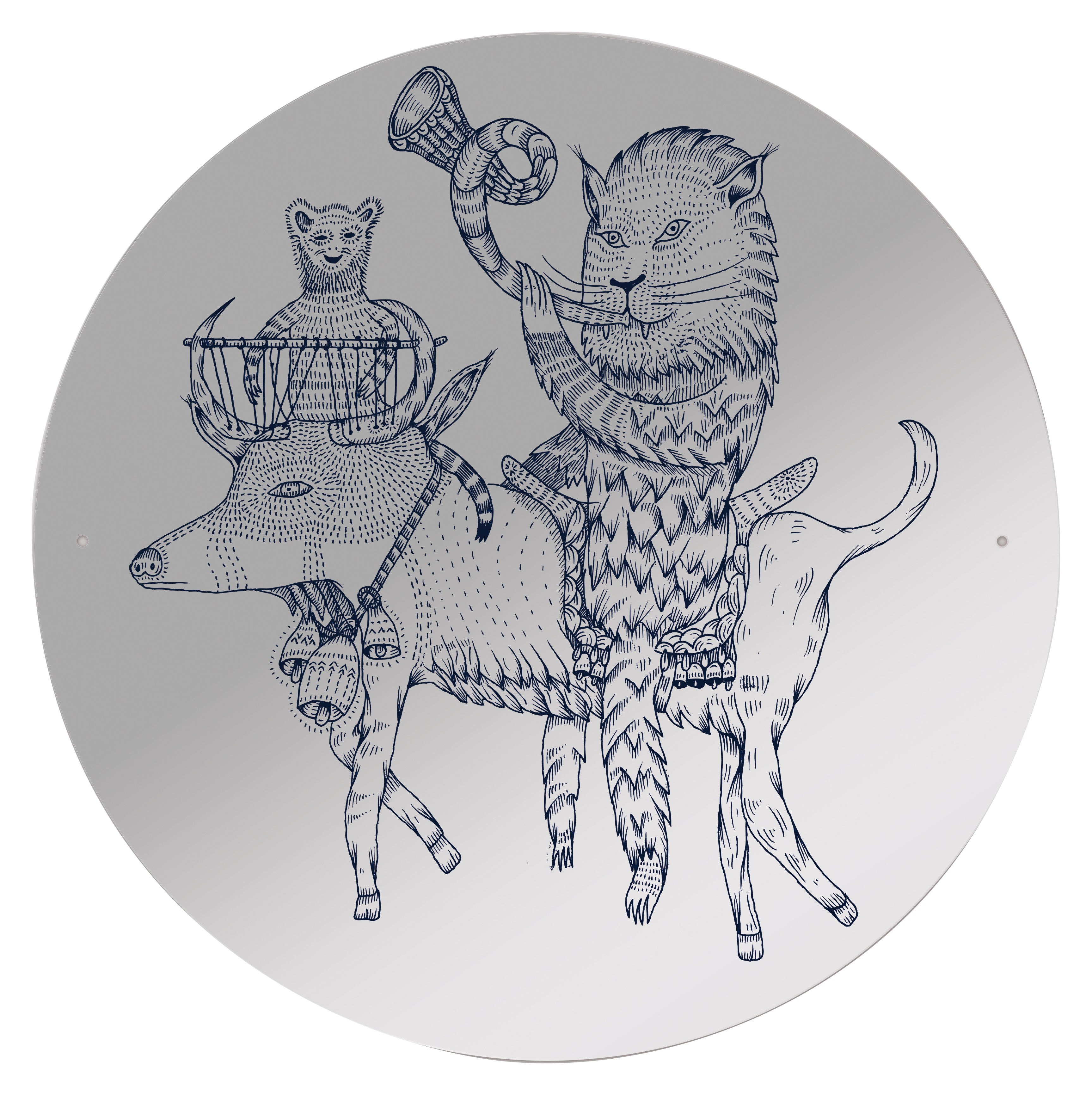Furniture - Mirrors - Hornlyon self-sticking mirror - Self-adhesive by Domestic - Hornlyon pattern - Plastic material