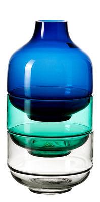 Set Fusione L / 2 coupes + 1 vase - H 35,5 cm - Leonardo bleu,vert,transparent en verre