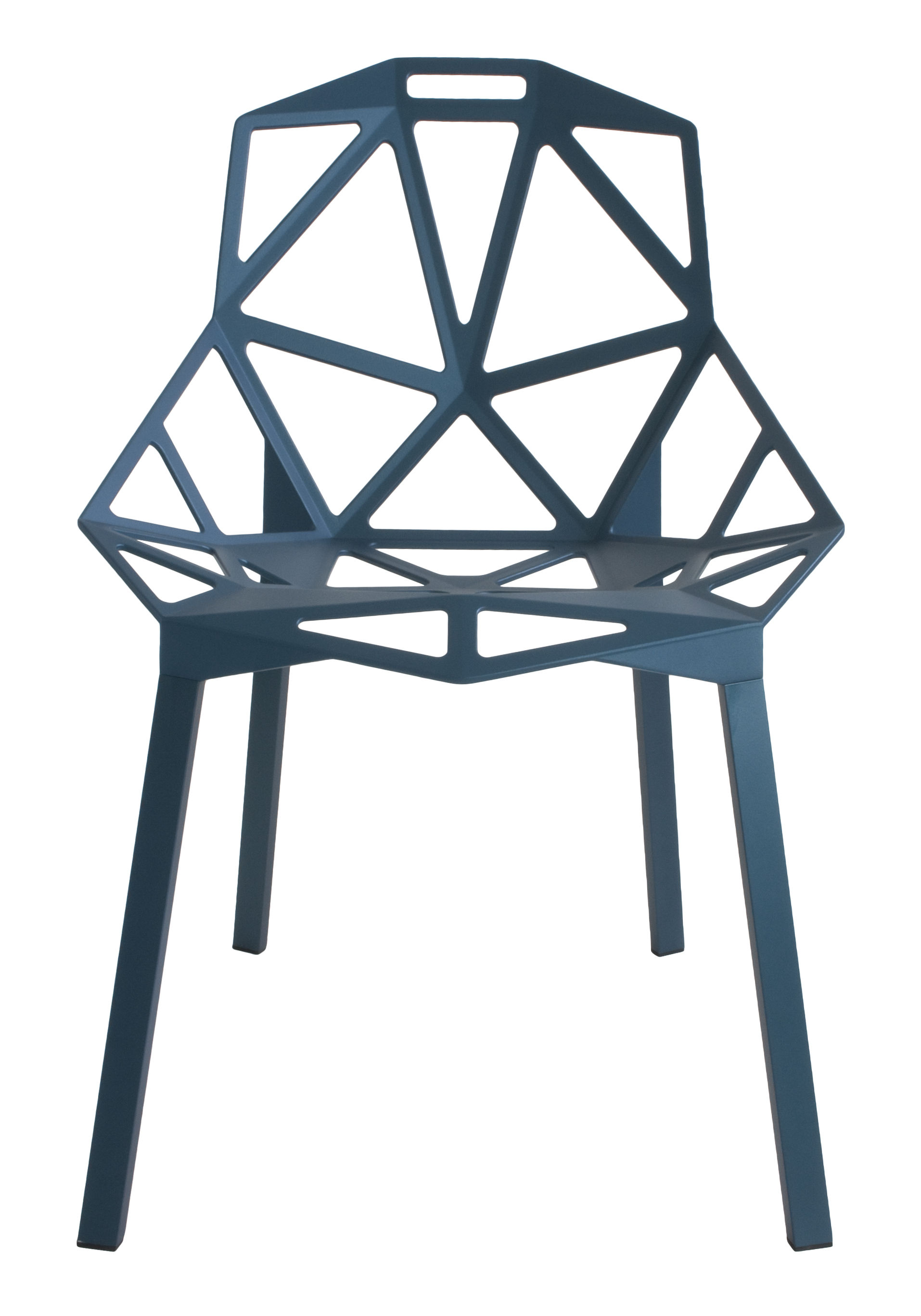 Furniture - Chairs - Chair One Stacking chair - / metal by Magis - Blue / Blue feet - Painted cast aluminium, Varnished aluminium