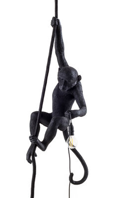 Luminaire - Suspensions - Suspension Monkey Hanging / Outdoor - H 80 cm - Seletti - Noir - Résine