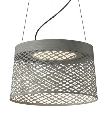 Luminaire - Suspensions - Suspension Twiggy Grid LED Outdoor / Ø 46 x H 29 cm - Foscarini - Gris - Fibre de verre, Matériau composite, Métal verni