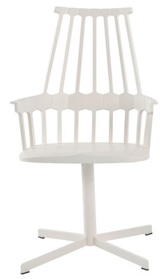 Furniture - Comback Swivel armchair - Polycarbonate & metal leg by Kartell - White / White legs - Polycarbonate, Steel
