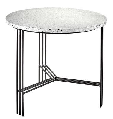 Mobilier - Tables basses - Table basse Terrazzo / Ø 50 x H 45 cm - Serax - Terrazzo gris / Pied noir - Fer peint, Terrazzo