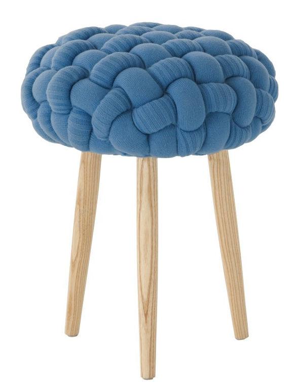 Mobilier - Tabourets bas - Tabouret Knitted Ø 35 x H 52 cm - Gan - Bleu / Frêne - Frêne, Laine  vierge