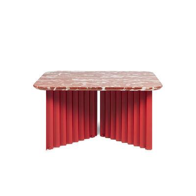 Arredamento - Tavolini  - Tavolino Plec Medium - / Marmo - 70 x 70 x H 35 cm di RS BARCELONA - Rosso - Acciaio, Marmo