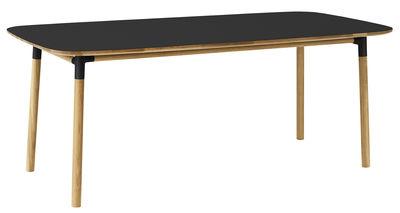 Arredamento - Tavoli - Tavolo rettangolare Form - / 95 x 200 cm di Normann Copenhagen - Nero / rovere - Linoleum, Polipropilene, Rovere