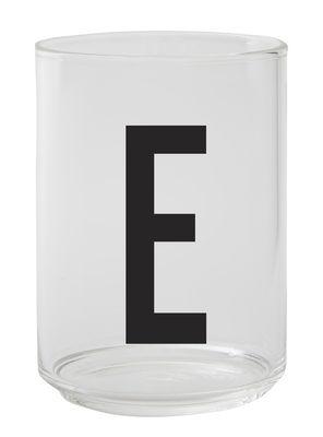 Verre Arne Jacobsen / Verre borosilicaté - Lettre E - Design Letters transparent en verre