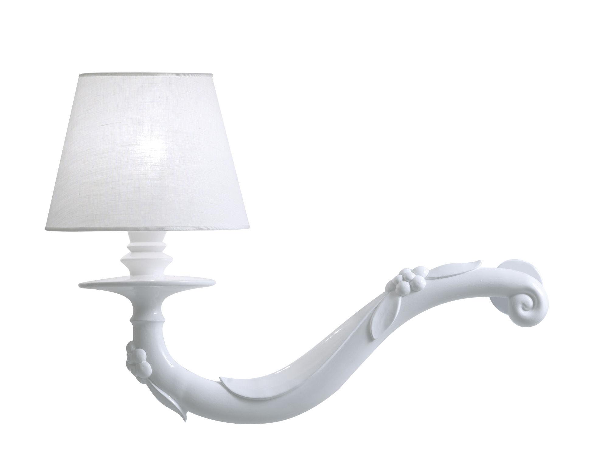 Lighting - Wall Lights - Déjà-vu Wall light - Ceramic & Linen - L 45 x H 32 cm by Karman - Glossy white - Ceramic, Linen