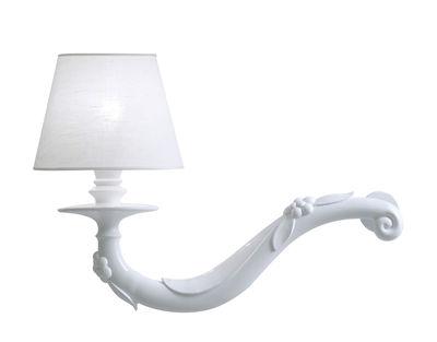 Déjà-vu Wandleuchte / Keramik & Leinen - L 45 cm x H 32 cm - Karman - Weiß glänzend