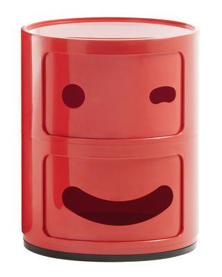 Möbel - Möbel für Kinder - Componibili Smile N°3 Ablage / 2 Schubladen - H 40 cm - Kartell - N° 3 / rot - ABS