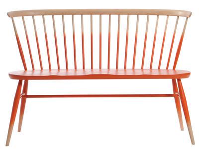 Mobilier - Bancs - Banc avec dossier Love Seat / L 117 cm - Réédition 1955 - Bois - Ercol - Dégradé mandarine / Bois - Hêtre massif, Orme massif