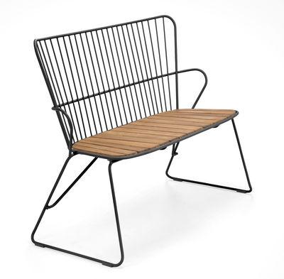 Banc Paon / L 116 cm - Métal & bambou - Houe noir/bois naturel en métal/bois
