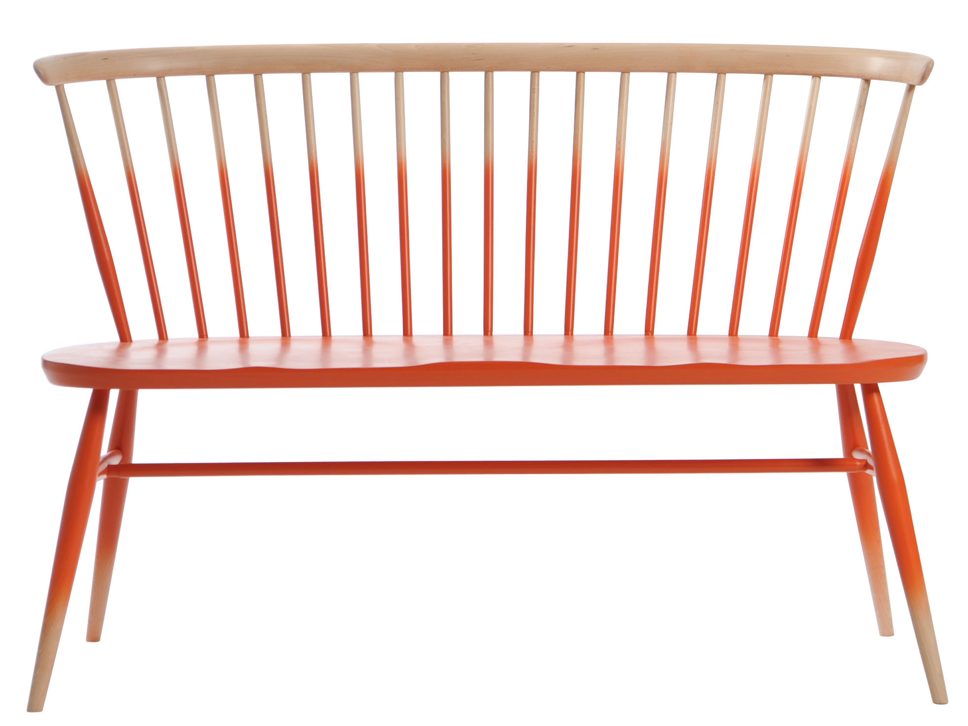 Furniture - Benches - Love Seat Bench with backrest - Reissue 1955 by Ercol - Mandarin gradation - Natural beechwood, Solid elm