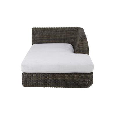 Canapé modulable Agorà / Module Lounge Gauche - Assise profonde / L 100 cm - Unopiu blanc écru,marron tropical en matière plastique
