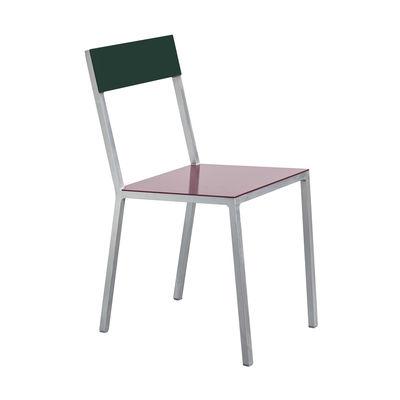 Furniture - Chairs - Alu Chair by valerie objects - Burgundy seat / Dark green backrest - Aluminium