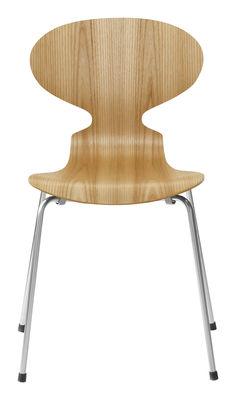 Mobilier - Chaises, fauteuils de salle à manger - Chaise empilable Fourmi / Bois naturel - Fritz Hansen - Orme - Acier, Contreplaqué de orme verni