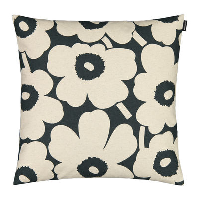 Decoration - Cushions & Poufs - Pieni Unikko Cushion cover - / 50 x 50 cm by Marimekko - Pieni Unikko / Dark green, cotton white - Cotton, Linen