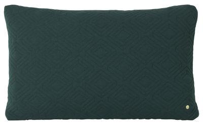 Decoration - Cushions & Poufs - Quilt XL Cushion - / 80 x 50 cm by Ferm Living - Dark green - Polyamide, Wool