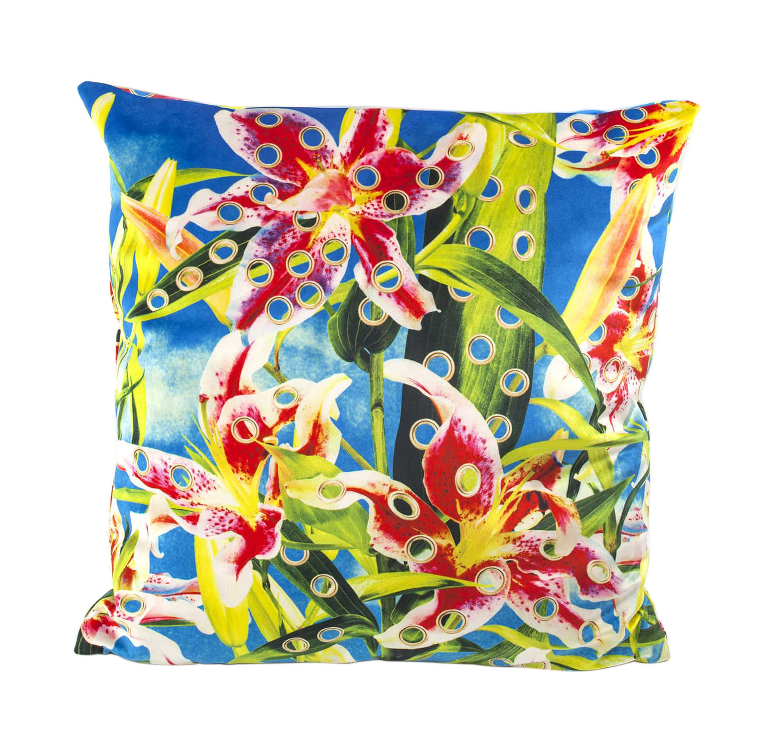 Decoration - Cushions & Poufs - Toiletpaper Cushion - / Flower with holes - 50 x 50 cm by Seletti - Flower with holes / Turquoise - Feathers, Polyester fabric