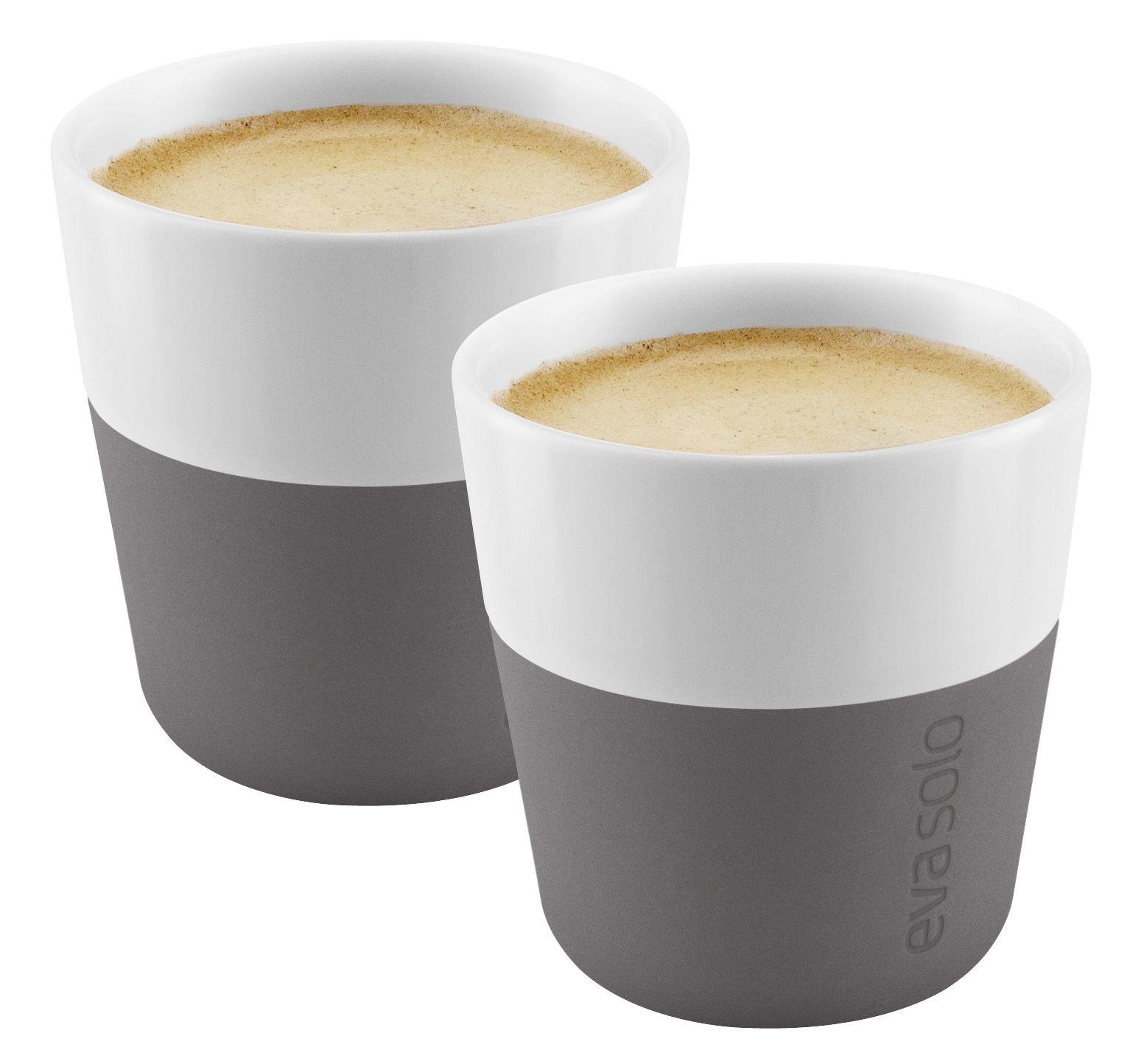 Tavola - Tazze e Boccali - Espresso tazza - /Set da 2 - 80 ml di Eva Solo - Bianco / Silicone grigio elefante - Porcellana, Silicone