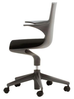Fauteuil à roulettes Spoon Chair Rembourré Kartell gris en matière plastique