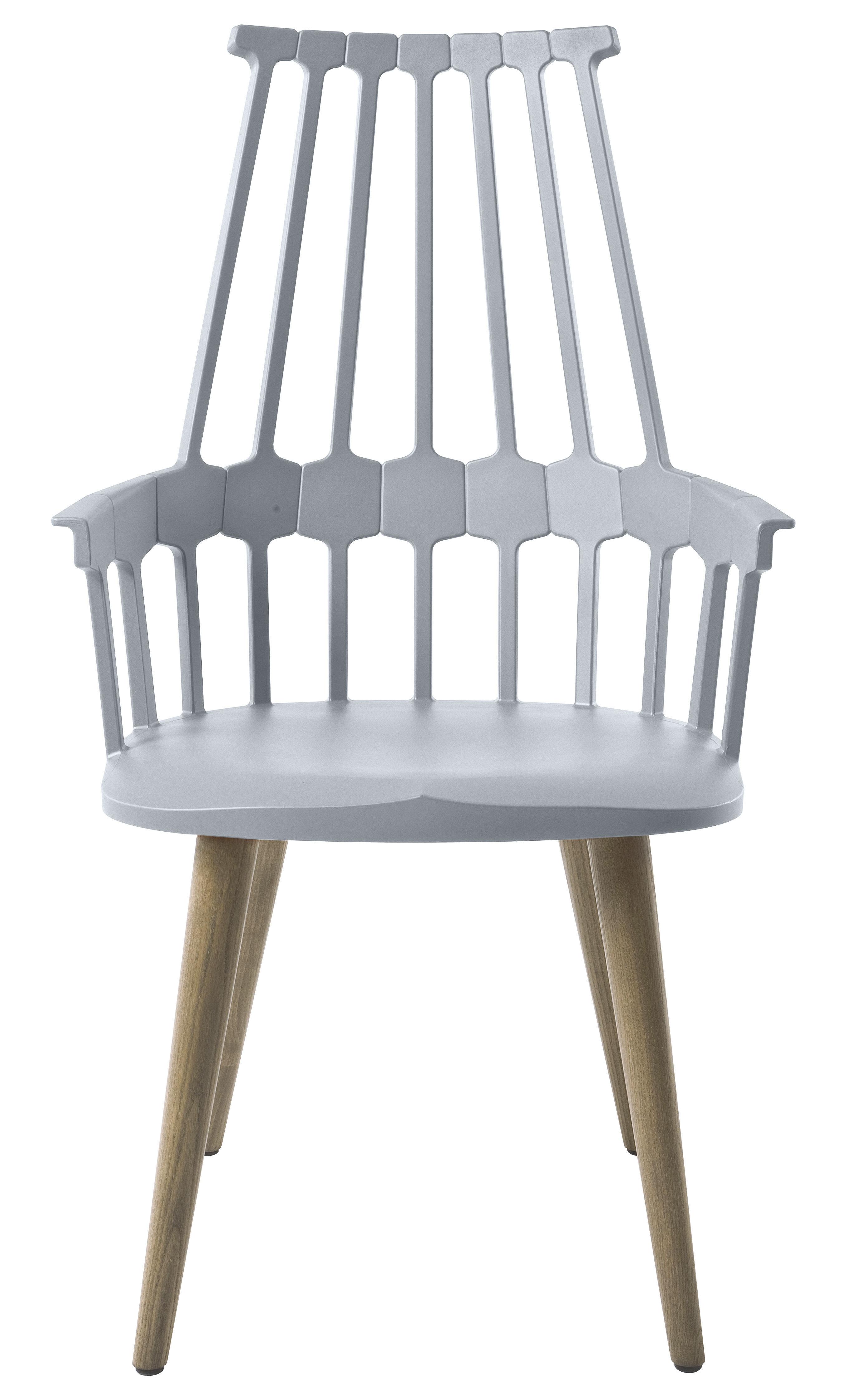 Mobilier - Fauteuil Comback / Polycarbonate & pieds bois - Kartell - Bleu ciel / Pieds chêne - Frêne, Polycarbonate