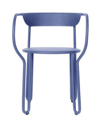 Mobilier - Chaises, fauteuils de salle à manger - Fauteuil Huggy / Aluminium - Maiori - Bleu aube - Aluminium laqué époxy