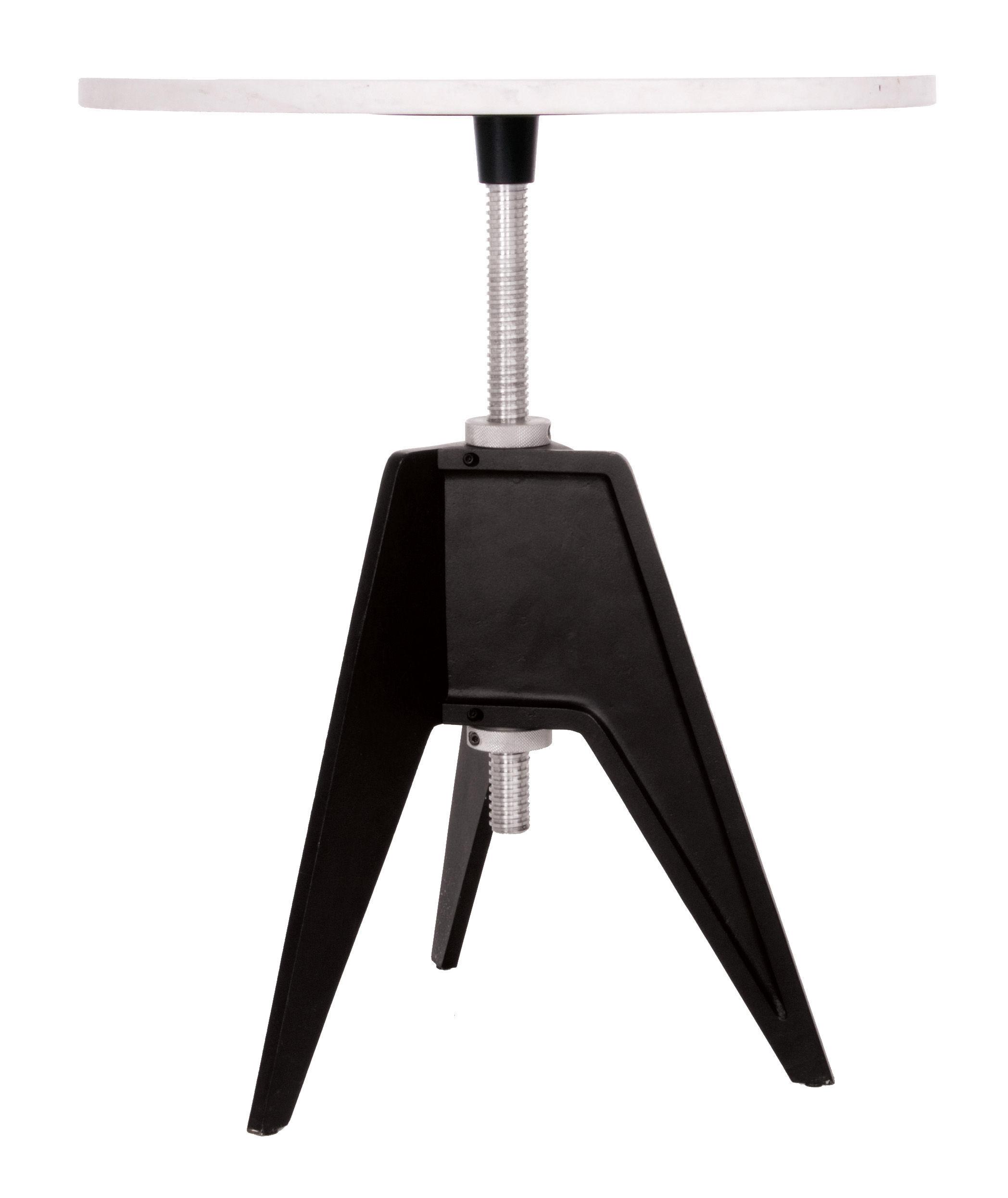 Möbel - Couchtische - Screw Höhenverstellbarer Tisch Tischplatte höhenverstellbar - Tom Dixon - Ø 60 cm - schwarz / weiß - Aluminium, Gusseisen, Marmor