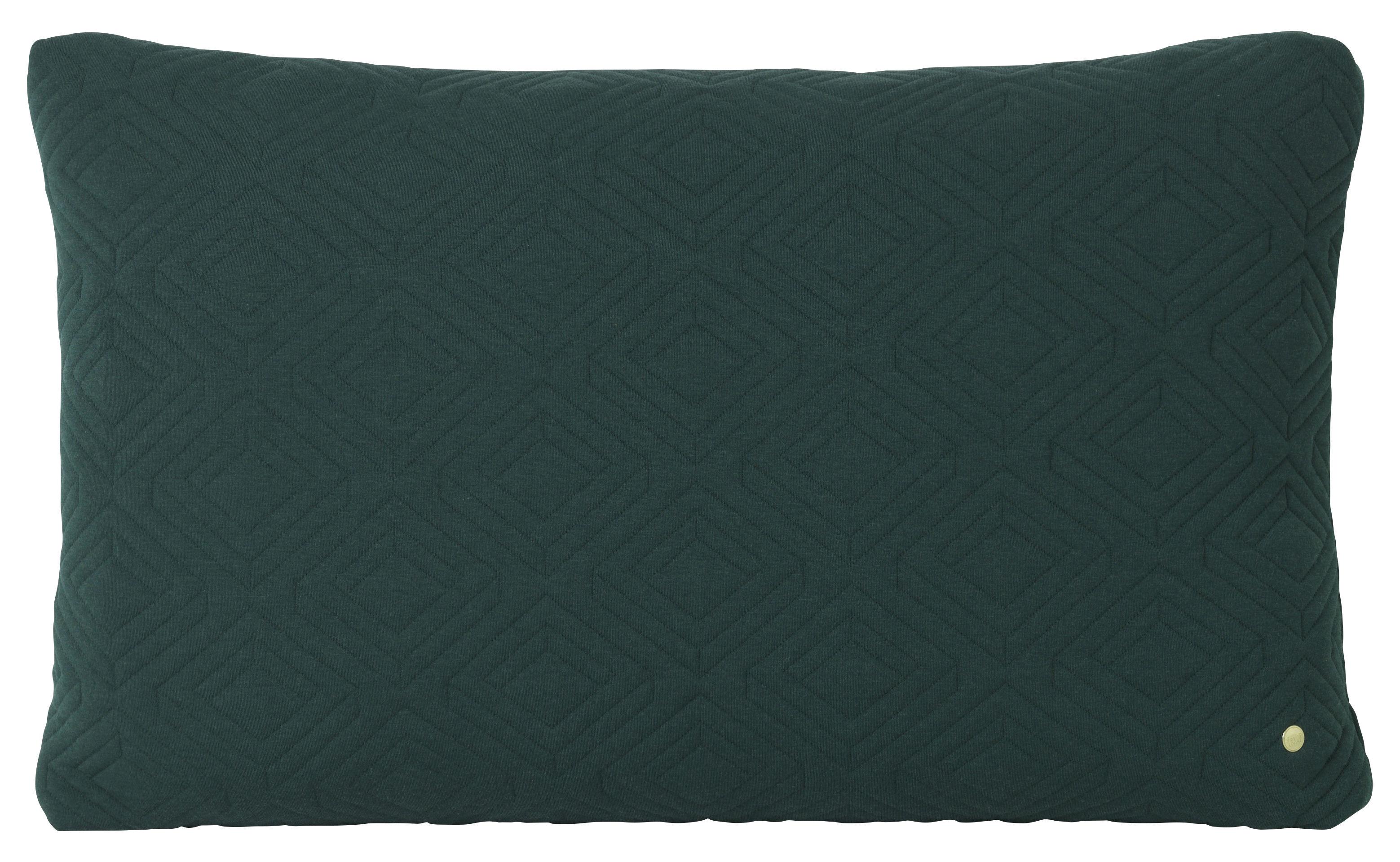 Dekoration - Kissen - Quilt XL Kissen / 80 x 50 cm - Ferm Living - Dunkelgrün - Polyamid, Wolle