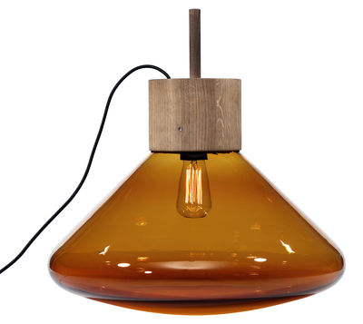 Lighting - Table Lamps - Muffin Upside Down Lamp by Brokis - Cognac glass - Blown glass, Oak