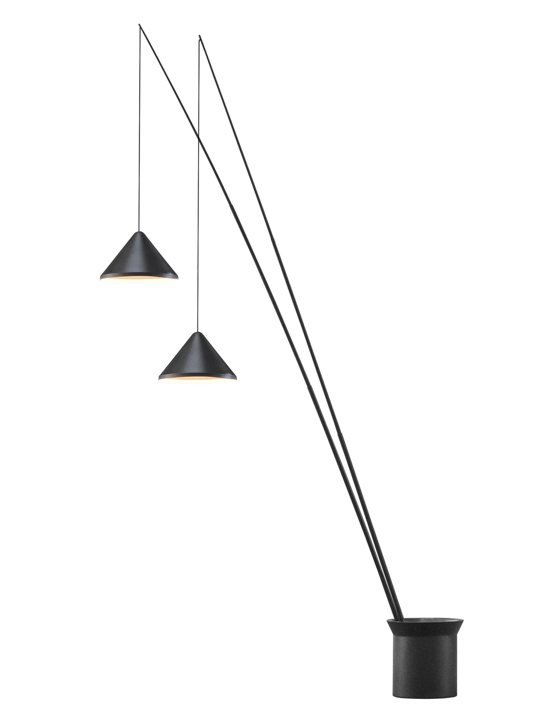 Illuminazione - Lampade da terra - Lampada a stelo North LED - / 2 paralumi regolabili - Ø 40 cm di Vibia - Ø 40 cm / Grafite opaco - Acciaio, Alluminio, Fibra di carbonio