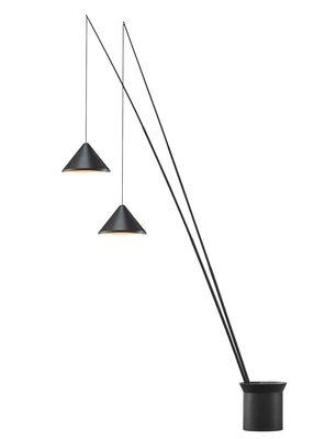 Luminaire - Lampadaires - Lampadaire North LED / 2 abat-jours réglables - Ø 40 cm - Vibia - Ø 40 cm / Graphite mat - Acier, Aluminium, Fibre de carbone