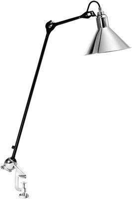 Luminaire - Lampes de table - Lampe d'architecte N°201 / Base étau - Lampe Gras - DCW éditions - Abat-jour chromé / Bras noir - Acier