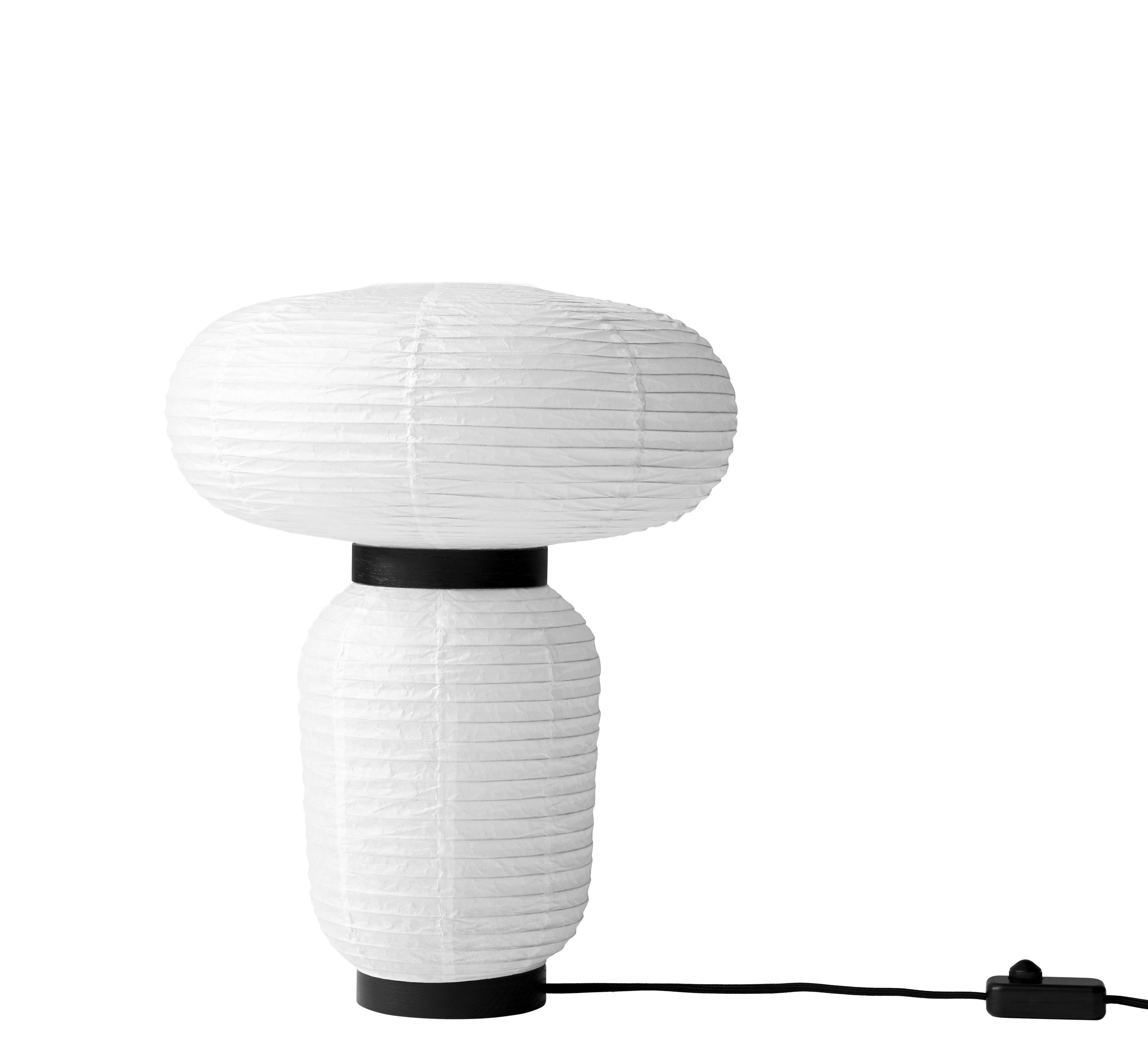 Luminaire - Lampes de table - Lampe de table Formakami JH18 / Ø 38 x H 50 cm - &tradition - Blanc ivoire / Noir - Chêne teinté, Papier de riz