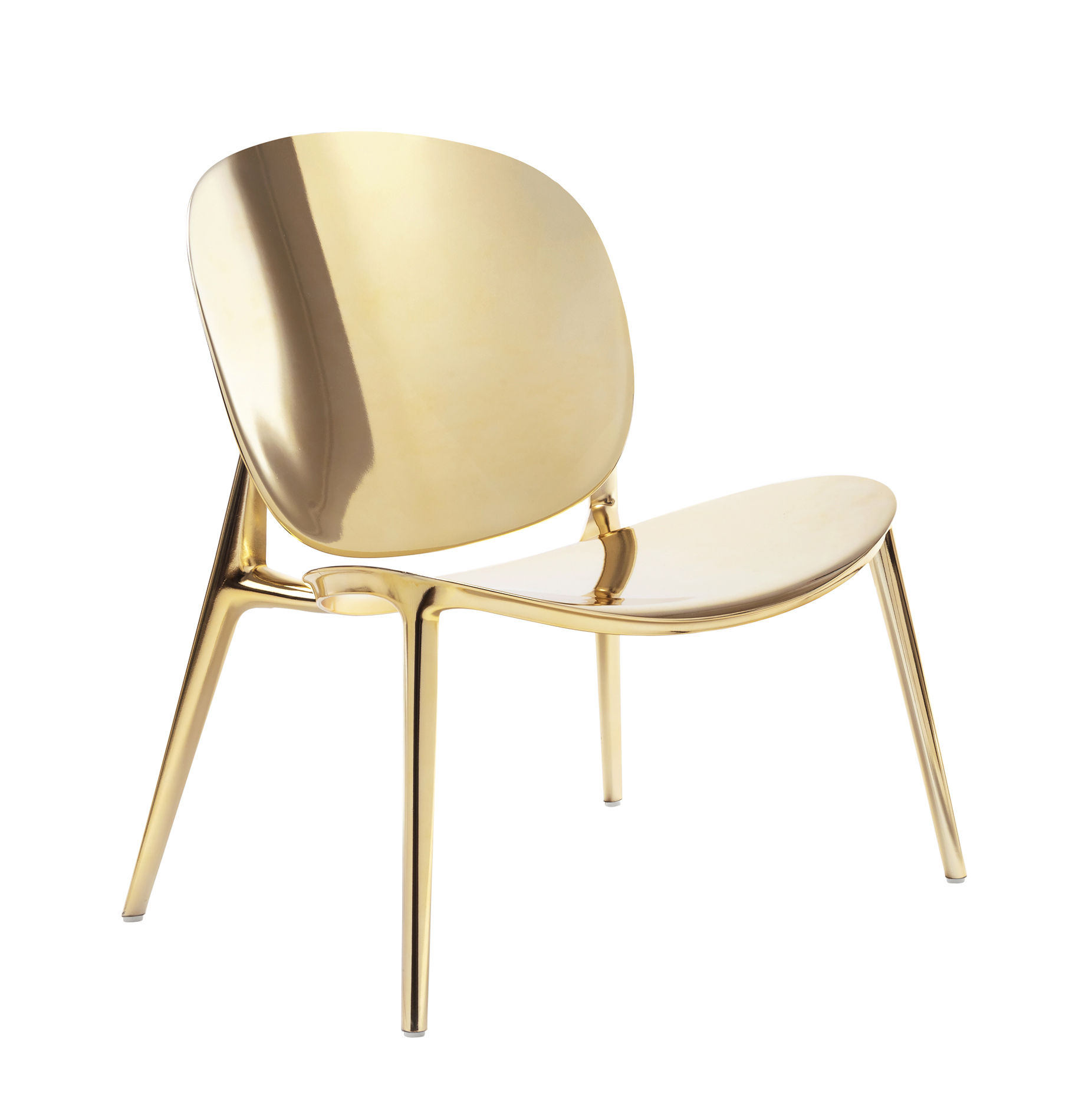 Furniture - Armchairs - Be Bop Low armchair - / Indoor by Kartell - Gold - Metallic-finish polypropylene
