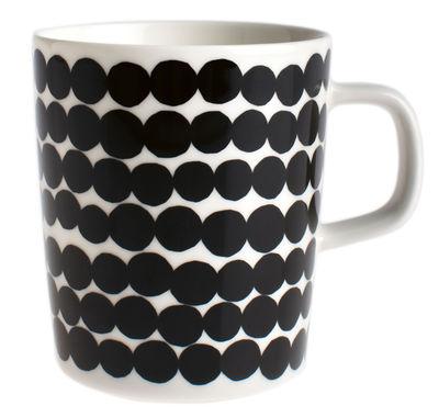 Arts de la table - Tasses et mugs - Mug Siirtolapuutarha / 25 cl - Marimekko - Räsymatto / Noir & blanc - Porcelaine émaillée
