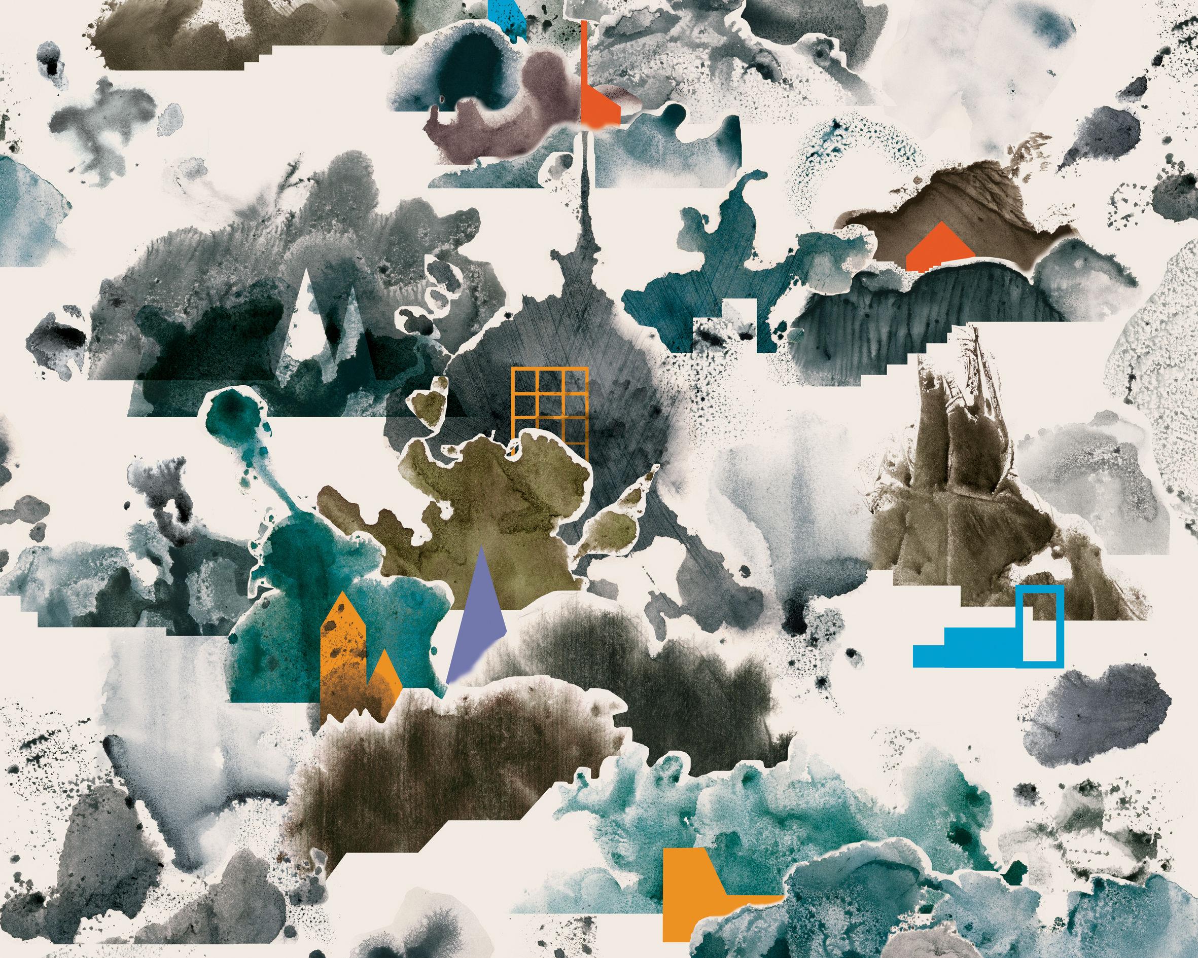 Dekoration - Stickers und Tapeten - WallpaperLab Fog Panorama-Tapete / 8 Bahnen - limitierte Auflage - Domestic - Fog / mehrfarbig - imprägniertes Papier