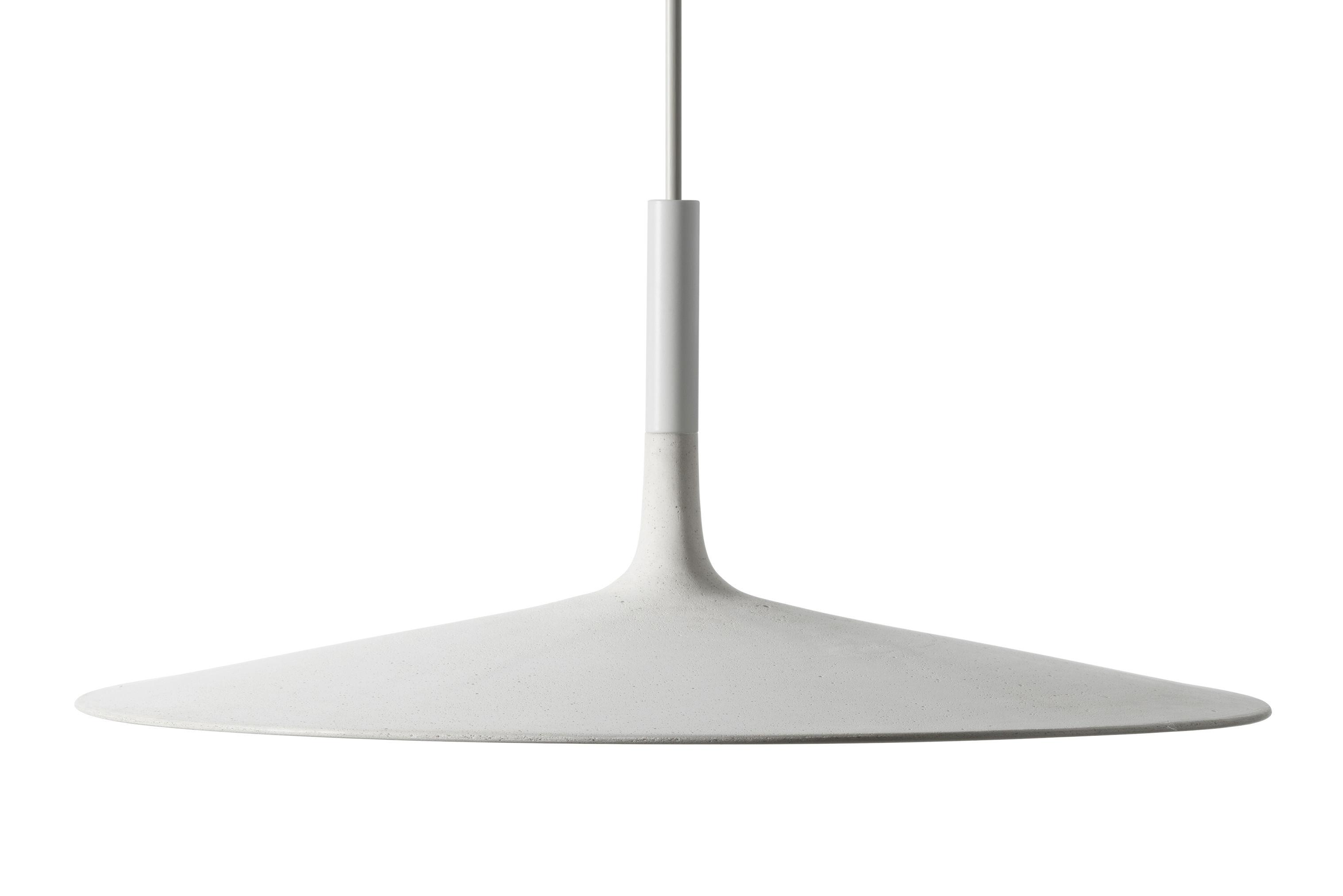 Lighting - Pendant Lighting - Aplomb Large Pendant - LED Cement / Ø 45 x H 20 cm by Foscarini - White - concrete, Lacquered polycarbonate