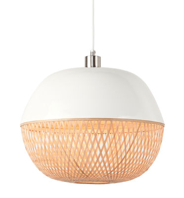 Lighting - Pendant Lighting - Mekong Pendant - / Bamboo - Ø 40 x H 32 cm by GOOD&MOJO - Ø 40 x H 32 cm / Bamboo & white - Natural bamboo, Painted bamboo