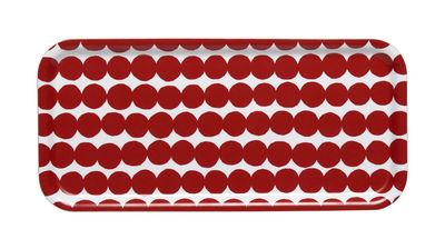 Arts de la table - Plateaux - Plateau Räsymatto / 15 x 32 cm - Marimekko - Räsymatto / Blanc & Rouge - Laminé de bouleau