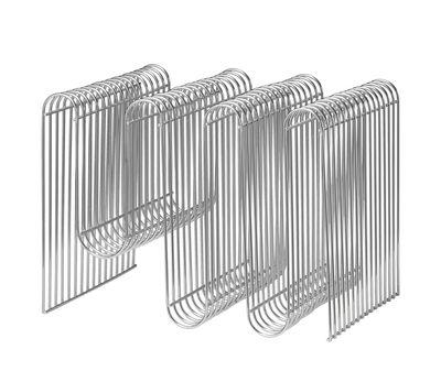 Interni - Contenitori e Cesti - Portariviste Curva - / L 40 x H 30 cm di AYTM - Argento - Ferro placcato cromo
