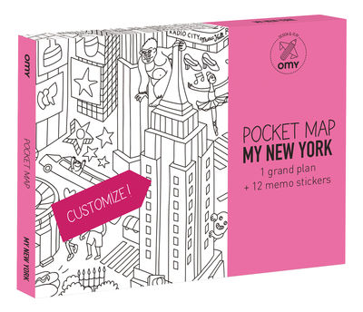 Déco - Pour les enfants - Poster à colorier Pocket Map - New-York / 52 x 38 cm - OMY Design & Play - New York - Papier