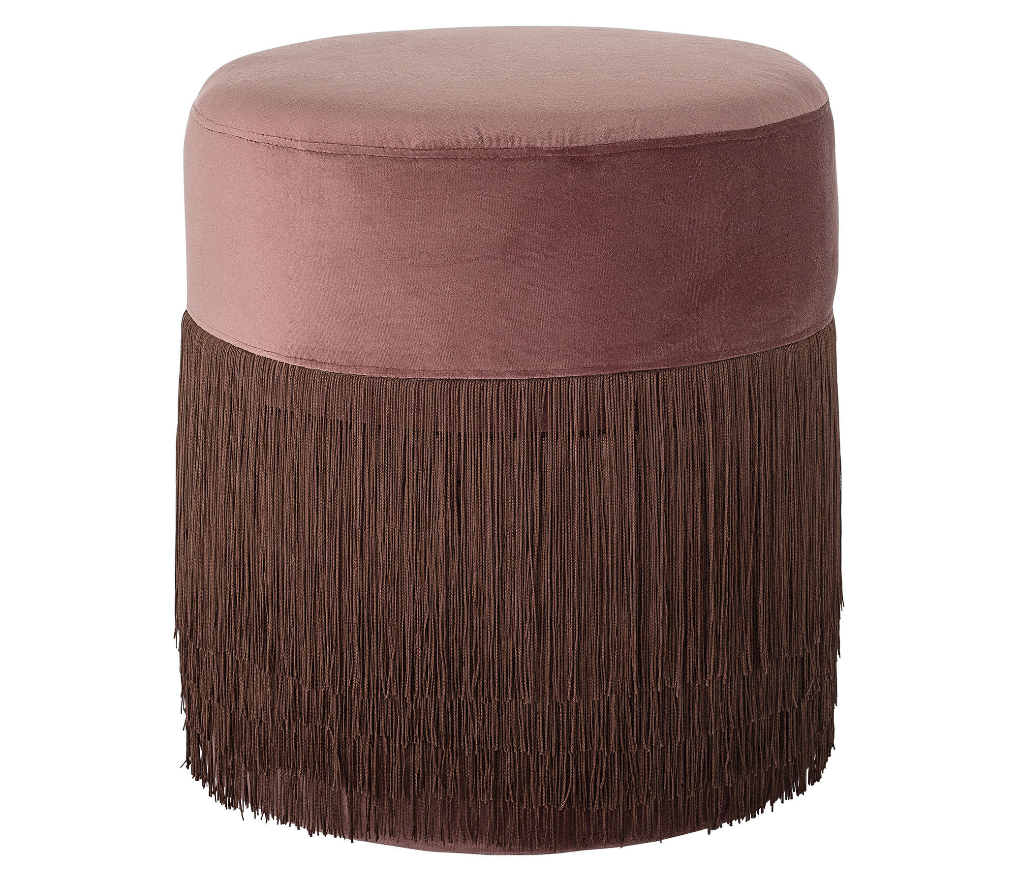 Furniture - Poufs & Floor Cushions - Grandma Small Pouf - / Ø 40 cm - Velvet & fringes by Bloomingville - Old rose - Polyester velvet