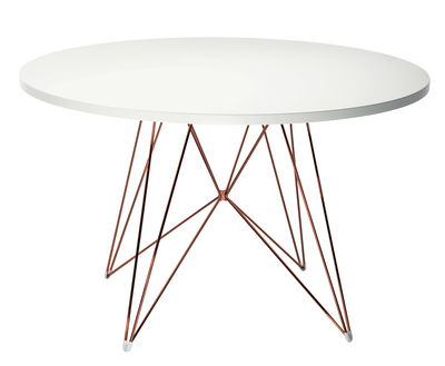 Furniture - Dining Tables - XZ3 Round table - Round - Ø 120 cm by Magis - White / Copper - MDF with polymer finish, Steel