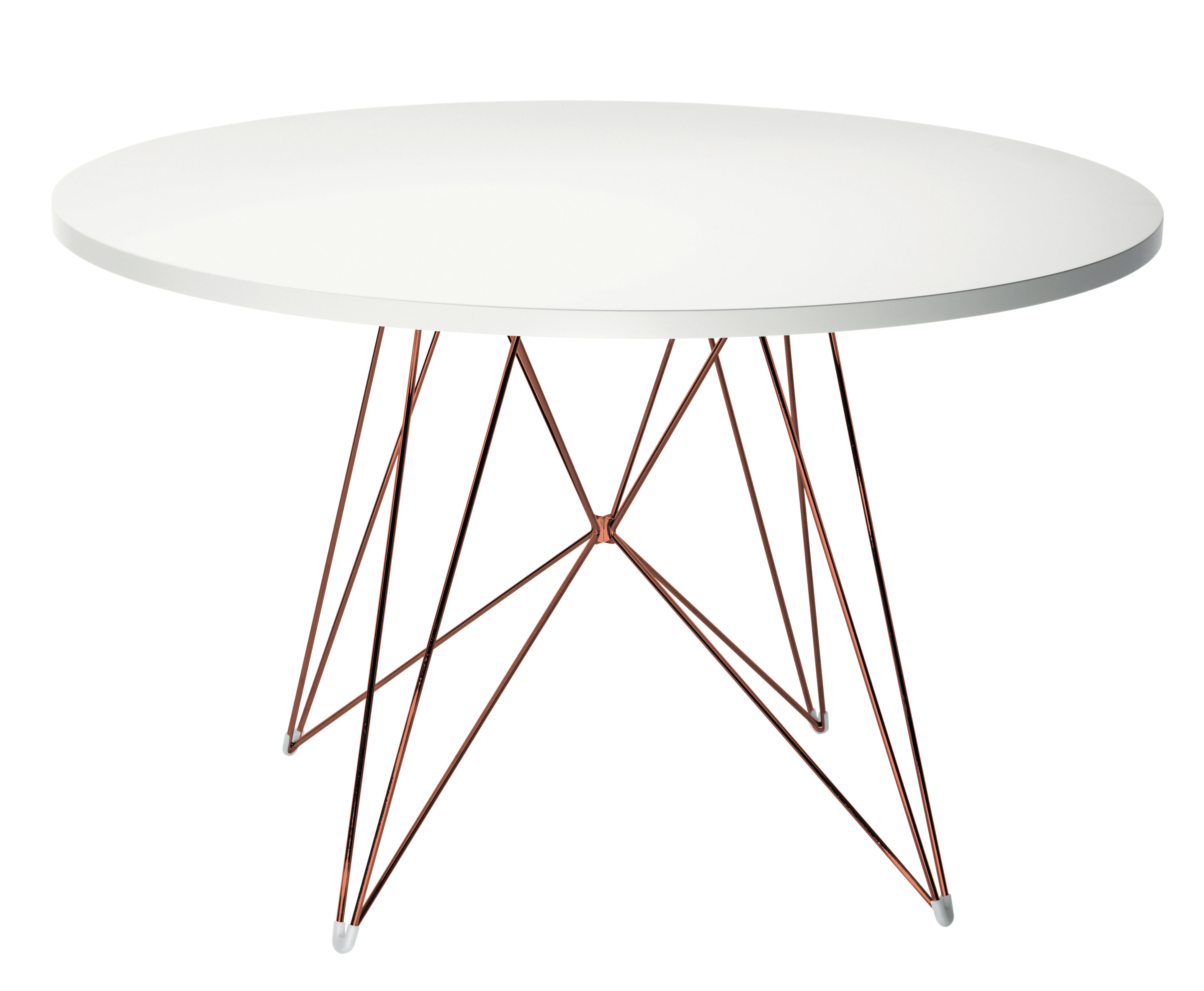 Möbel - Tische - XZ3 Runder Tisch / rund - Ø 120 cm - Magis - Weiß / Tischgestell kupferfarben - Holzfaserplatte im Polymer-Finish, Stahl