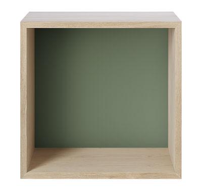 Arredamento - Scaffali e librerie - Scaffale Stacked 2.0 - / Medium quadrata 43x43 cm / Con fondo colorato di Muuto - Rovere / Fondo verde antico - MDF impiallacciato rovere, MDF tinto