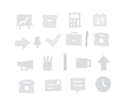 Set Symboles Office / pour tableau perforé - Design Letters blanc en matière plastique