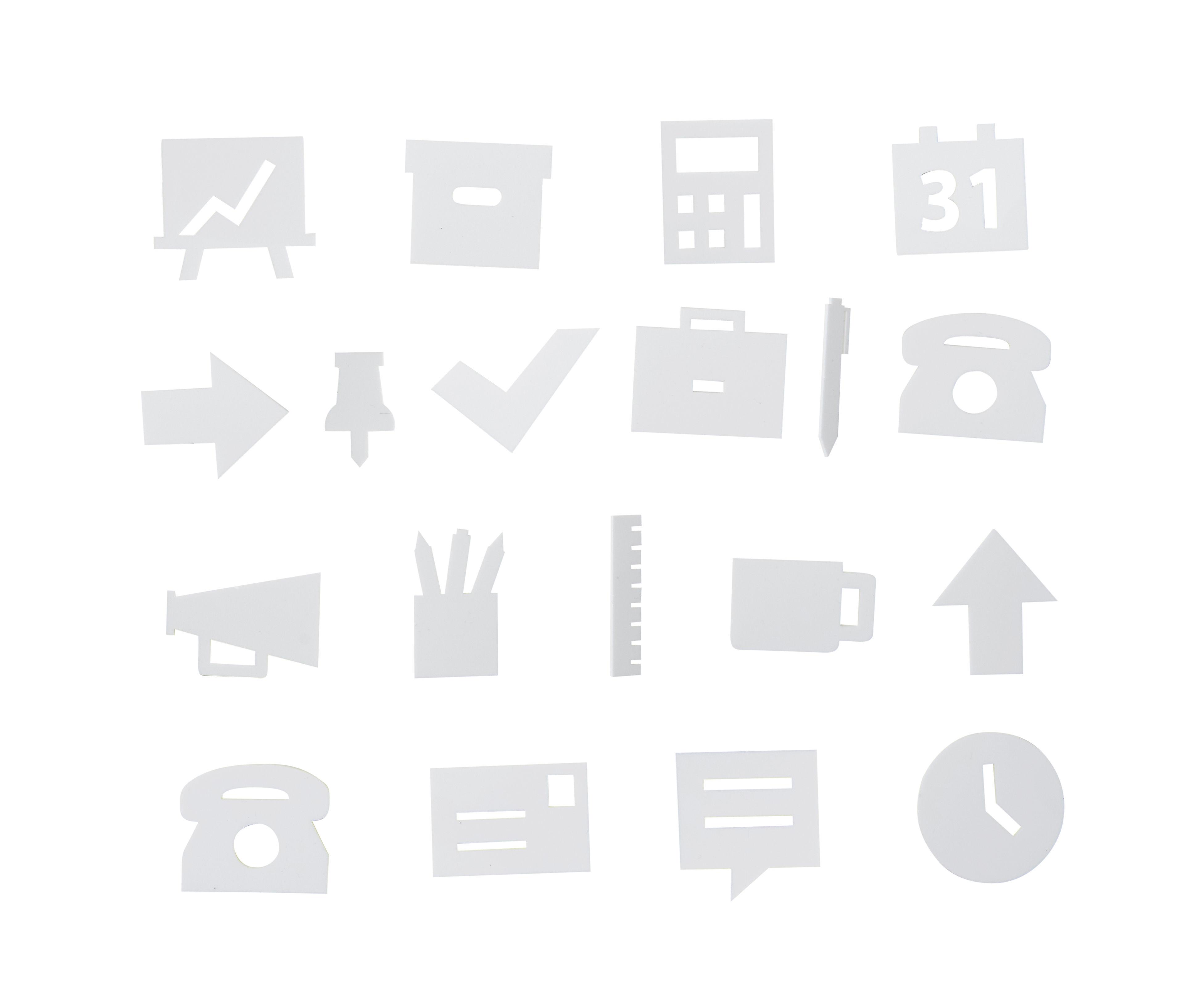 Déco - Mémos, ardoises & calendriers - Set Symboles Office / pour tableau perforé - Design Letters - Blanc - ABS, Polyméthacrylate de méthyle